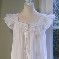 I love wearing White pure cotton Nighties Night Wear Dress, Night Dress For Women, Night Gown, Cotton Nighties, Nightgown Pattern, Vintage Outfits, Vintage Fashion, Period Outfit, Feminine Style