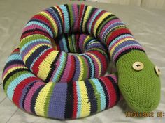 Enormous Stripey Knitted Snake: #knit #knitting #free #pattern #freepattern #freeknittingpattern #freeAnimalknittingpattern