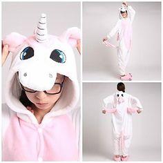 Cute Pink Unicorn Adult Coral Fleece Kigurumi Pajamas Animal Sleepwear