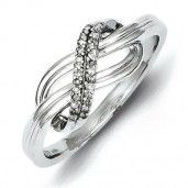 Sterling Silver Rhodium Plated Diamond Ring - Promise Ring