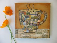 Coffee Art Tea Cup Collage Coffee Cup Mixed Media Artwork