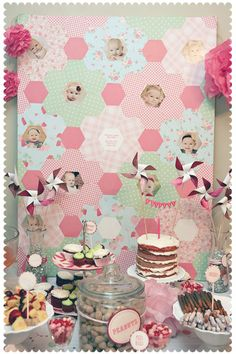 Cute use of scrapbook paper hexes and photos for a birthday party. Lots of cute party ideas, too.