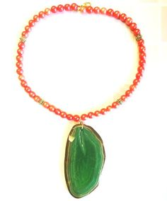 Red Orange Pearls and Agate Necklace – Ginny Taylor Designs