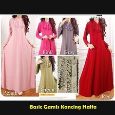 Basic Gamis Kancing Haifa Harga 125.000 (Minimal 1 pcs) Bahan Jersey