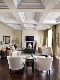 My diningroom ceiling is like this, but it is painted metallic gold in between the cream wood