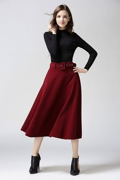 90a19ebac1b Fashion A-line Pure Color Woolen Long Skirt With Belt Colored Pants  Outfits