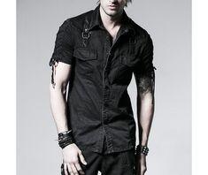 Men Gothic Goth Skull Goth Punk Rock Metal Black Shirt By Punk Rave Sold By OtherWorld Fashion $86.26 USD #MensFashionRock