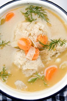 Matzo Ball Soup - carrots, celery, onion, dill, garlic, white wine and matzo balls