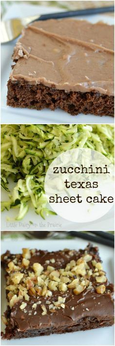 Everything you love about classic Texas sheet cake with the addition of zucchini! I can't get enough of this one! Little Dairy on the Prairie (Paleo Brownies Zuchinni) Zucchini Desserts, Zucchini Bread Recipes, Zucchini Tots, Just Desserts, Delicious Desserts, Dessert Recipes, Frosting Recipes, Yummy Treats, Sweet Treats
