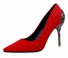 Sexy Women Shoes Red Bottom High Heels Faux Suede Party Pointed Toe High Heel…