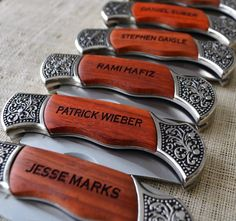 Gift for Groomsmen - Set of 5 Laser Engraved Rosewood Hunting Knife with Decorative Handle - Engraved Knife, Wedding Party Gift. $118.00, via Etsy.