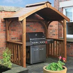 BBQ Grill Hut Gazebo Shelter Rain Cover with Smoke Outlet - Treated Pine Wood
