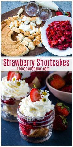 Summer is here, and Strawberry Shortcakes in a Jar are perfect for serving up at all your backyard barbecues, picnics, and pool parties. These adorable individually portions are as easy to transport as they are to eat. Healthy Strawberry Shortcake, Strawberry Cakes, Strawberry Recipes, Fruit Recipes, Dessert Recipes, Strawberry Shortcake Recipe With Angel Food Cake, Strawberry Summer, Easy Desserts, Delicious Desserts