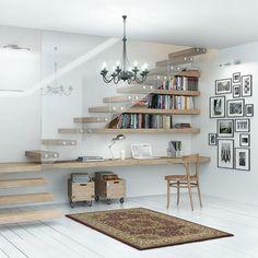 rangement sous escalier flottant bureau