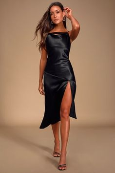 The Pinch Whatever You Want Black Satin Cowl Neck Slip Midi Dress is here to send you on the evening of your dreams! Sexy cowl neck slip midi dress with slit. Cute Black Dress, Black Satin Dress, Green Satin, Black Midi Dress, Satin Dresses, Women's Dresses, Dresses Online, Fashion Dresses, Gowns