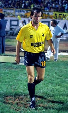 """Mirosław Okoński while playing for AEK Athens in the late Hamburger Sv, Retro Football, Simple Shirts, Summer Olympics, Olympic Games, Athens, Shit Happens, Running, Twitter"