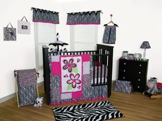 Zahara Crib Bedding - Black White and Hot Pink Zebra Crib Bedding