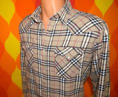 vintage 70s western shirt ELY brown burberry plaid by skippyhaha, $28.00