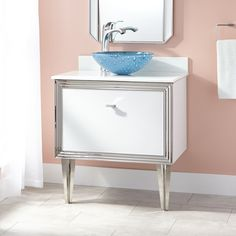 """30"""" Mariano Stainless Steel Wall-Mount Vessel Sink Vanity - White"""