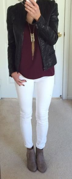 Fall Outfit- Black leather jacket, brown scarf, white top, ripped ...