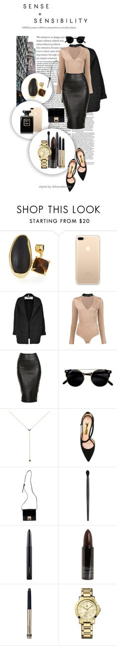 """""""Bodysuit"""" by belleforcible ❤ liked on Polyvore featuring Alexis Bittar, Burberry, Fleur du Mal, Jezebel London, Rupert Sanderson, Versace, Bare Escentuals, MAC Cosmetics, Serge Lutens and By Terry"""