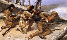American West Paintings   ... Brush with the Redskins Old American West cowboy Frederic Remington