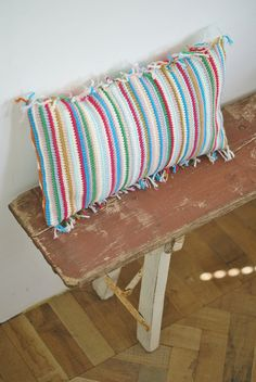 stripes & fringes by wood & wool stool, via Flickr