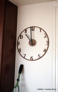 "Unique Naked Wood Wall Clock.  Cutout walnut clock, modern mid-century style.  11"" diameter. on Etsy, 74.00"