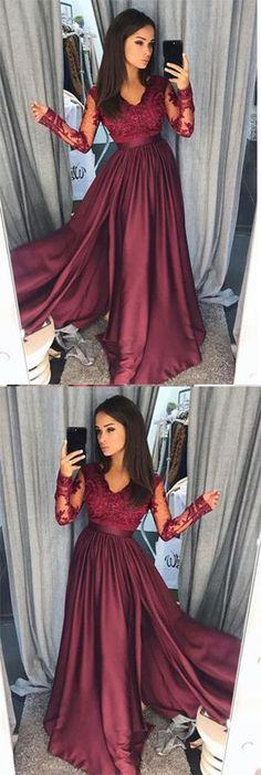 0046a231ab1 Elegant A-Line Lace Long Sleeves Satin Burgundy Beads Slit V-Neck Prom  Dresses