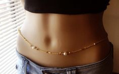 Gold plated pearl Belly Chain Body jewelry Waist Chain by Ninnos, $27.00