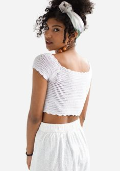 Crochet off shoulder boatneck top with cap sleeves, scalloped edges and a cropped length. Delicately hand crocheted with pure cotton yarn. SIZES: S: Width: / , Length (neckline to bottom): / M: Width: 34 cm / Length (neckline to bottom): / Crochet Bandeau Tops, Crochet Crop Top, Hand Crochet, Crochet Bikini, Crochet Top Outfit, Crochet Clothes, Diy Clothes, Summer Blouses, Off Shoulder Tops