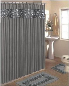 Por Bath Sinatra Bling Jacquard Silver Grey Fabric Shower Curtain Rings Area Rug And Contour