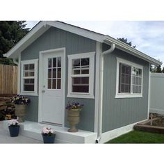 custom built, garden shed, mother in law home, playhouse Backyard Guest Houses, Backyard Office, Backyard Buildings, Backyard Cottage, Backyard Studio, Backyard Ideas, Garden Cottage, Backyard Landscaping, Cottage Plan