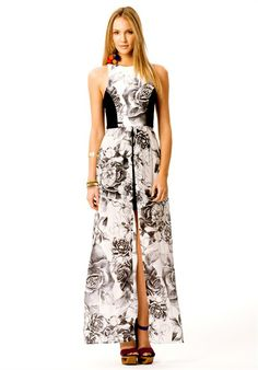 SHINING LOVE DRESS is a high neck maxi dress featuring spliced contrast side detail and large front split. Made from a soft, floaty silk fabric this garment is a lightweight and luxurious to wear. Fabric: Silk Ponte #talulah