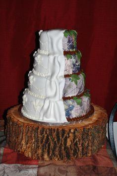 split personality wedding cake. half real tree camo and half elegant by Tessa Glasgow.  www.facebook.com/uniquecakedesignsbytessa