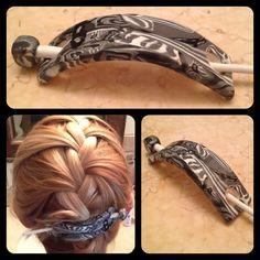 Updo Barrette Hair Slide in Black and White by CascadingGems