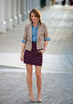 Camel blazers and a denim blouse are wardrobe essentials; plus anything nautical in my opinion. of women interpret trends to make them their own. Womens Fashion For Work, Work Fashion, Fashion Outfits, Fashion Ideas, Date Outfits, Skirt Outfits, The Maxx, Denim Blouse, Denim Shirt