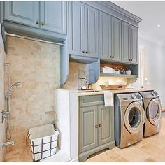 """1,249 Likes, 12 Comments - Interior Design & Home Decor (@inspire_me_home_decor) on Instagram: """"From the color of the cabinets to the dog wash, this is a dream laundry room! Thank you for sharing…"""""""