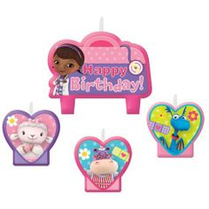 A birthday cake is just what the doctor ordered! Dress up your cake with Doc McStuffins Birthday Candles. Package contains 4 Doc McStuffins Birthday Candles. 4th Birthday Parties, Birthday Party Decorations, It's Your Birthday, Girl Birthday, Happy Birthday, Girl Parties, Birthday Ideas, Doc Mcstuffins Birthday Cake, Wholesale Party Supplies