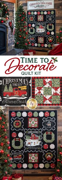 The Time to Decorate Quilt fully captures the feeling of Christmas in the country, where big red barns and evergreen trees stand tall above the freshly fallen snow. A hint of humor is added to that classic ambiance with festive farm animals wearing Santa hats and Christmas quilts from the Homegrown Holidays collection designed by Deb Strain for Moda. The fun fabric panels and eye-catching details of the piecing will make this quilt a family favorite for decades!