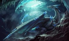 Draw Creatures Ice Dragon Illustration by Galan Pang - Magical Creatures, Fantasy Creatures, Fantasy Dragon, Fantasy Art, Dragon Illustration, Ice Dragon, Cool Dragons, Dragon Artwork, Dragon Drawings