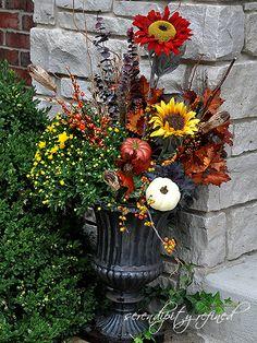 Fall Urn, Planter,  Pumpkin, Sunflower by Serendipity Refined