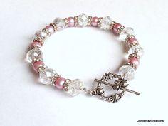 Blush Pink Pearl Bracelet, Freshwater Pearl Crystal Toggle Bracelet with Rhinestone Rondelles, Beaded Boho Jewelry, Bridesmaid Bridal Gift by JamieRayCreations on Etsy https://www.etsy.com/listing/205032509/blush-pink-pearl-bracelet-freshwater #handmadejewelry #blushpearlbracelet #bohojewelry #giftforher #pearltogglebracelet