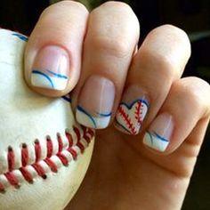 20 Baseball Nail Art Designs - Make-up Deutchland Baseball Nail Designs, Baseball Nail Art, Softball Nails, Baseball Mom, Sports Nail Art, Baseball Boyfriend, Baseball Videos, Funny Baseball, Baseball Stuff