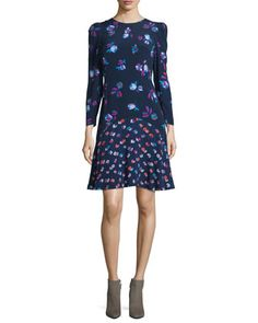 Mixed-Floral+A-Line+Dress,+Navy+by+Rebecca+Taylor+at+Neiman+Marcus.