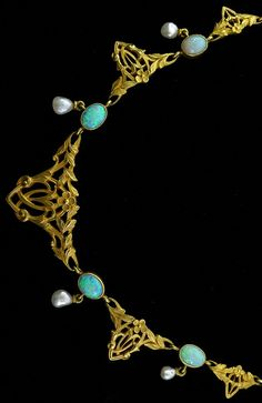 An Art Nouveau opal, Baroque pearl and 18K gold necklace, French, 1890-1900s…
