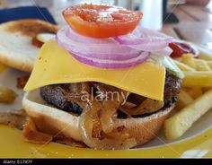 Barbecued bacon cheeseburger with fried onions, red onions and tomato with a side of French fries