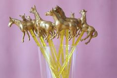 Fancy Pony or Horse Gold Animal Drink Stirrers, Swizzle Stick, Cocktail Stirrer - Set of 10