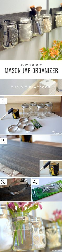 Easy DIY Mason Jar Organizer