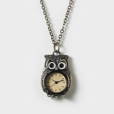 Clock Belly Owl Necklace $18.00[clairs store] or another necklace clock